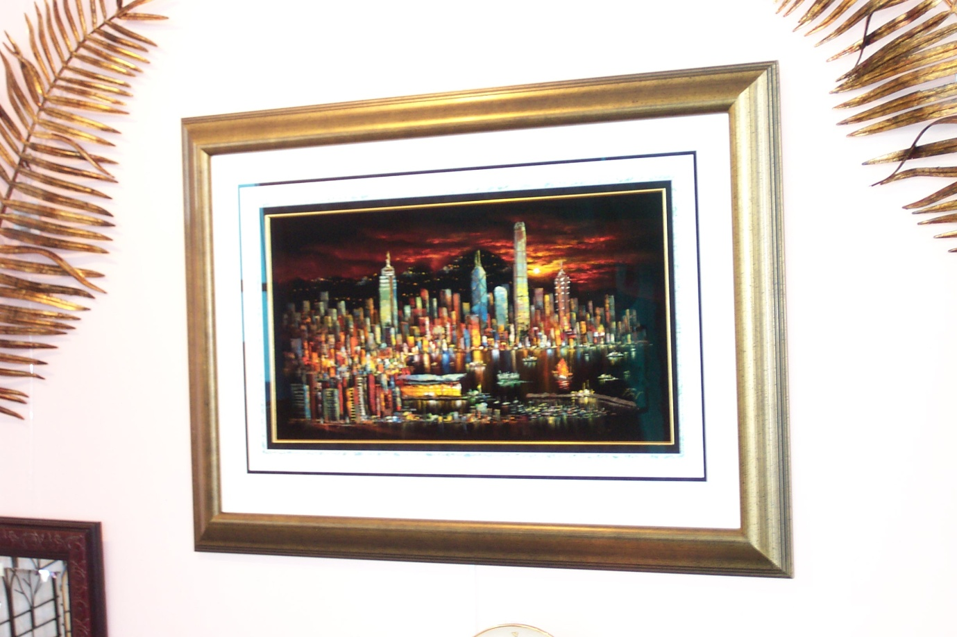 The southgate studio frames this oil on velvet painting has a triple mount with inlay and a gold slip which has created a 65mm air space so the ripples in the painted velvet still jeuxipadfo Images